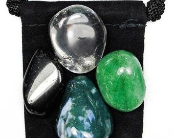 TOLERANCE Tumbled Crystal Healing Set - 4 Gemstones w/Description & Pouch - Aventurine, Black Tourmaline, Clear Quartz, and Moss Agate