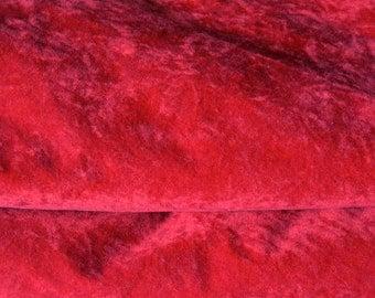 "Red Velvet Bedspread, King Size, 112""w. x 118"" l., Cotton"