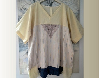 Tunic / kimono linen cotton, women's lagenlook tunic, oversize tunic, summer tunic, loose kimono tunic, recycled tunic, upcycled clothing