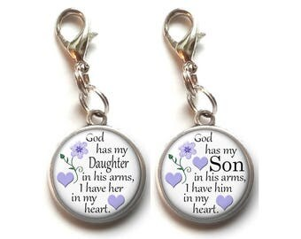 In Gods Arms, Daughter, Son, Clip On Charm, Memorial, In Memory Of, Child,  Remembrance, Dangle Charm, Antique Silver, Lobster Claw Clasp