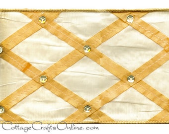 """CLEARANCE! Wired Ribbon, 4"""" Cream Gold Harlequin Sequins - TEN YARD Roll - Offray Ribbon """"Court Jester"""" #620 Faux Dupioni Wire Edged Ribbon"""
