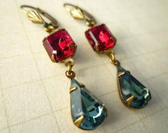 Vintage Swarovski Glass Gem Earrings - Siam Ruby Red & Indian Sapphire Old Hollywood Estate Style Earrings