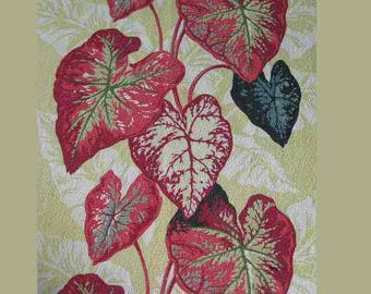 Vtg 1950s Barkcloth Fabric Curtains Caladium Leaves pair + 2 half panels heavy cotton red, white, black on celery background; Tropical