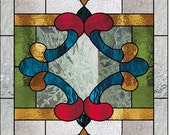 Custom listing for NC stained glass panel Victorian design 30 x 18