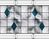 Custom listing for EH for beveled stained glass panel with steel blue diamonds 17 3/8 x 11 3/8