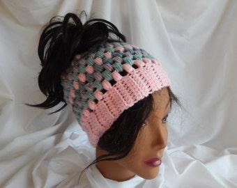Messy Bun Hat Pony Tail Hat - Crochet Woman's Fashion Hat - Pink, Lavender, Green, Blue