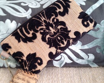 10in Clutch in Black and Beige Damask Chenille tapestry fabric  MINI MIA 10inch Clutch Ready To Ship