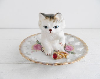 Vintage Porcelain Cat Ring Dish, Figurine & Saucer Trinket Holder, Kitschy Jewelry Display