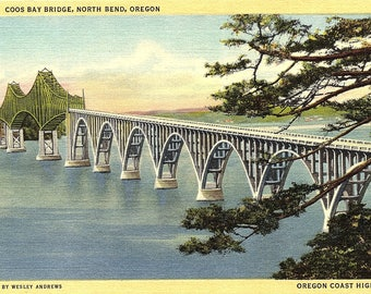North Bend, Oregon, Coos Bay Bridge - Vintage Postcard - Postcard - Unused (V)