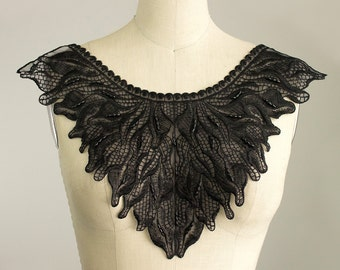 NEW ITEM! Black Venice Lace Extra Large Lightly Beaded Applique Neckline Collar / Bodice Front Or Back Piece / Gothic / Edwardian / Bridal