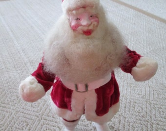 Red velvet Santa Howard Gale vintage store display Santa jolly face round belly Christmas Santa childhood Christmas holiday decoration boots