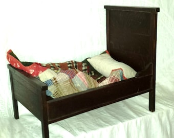 Antique High Back Wooden Doll Bed 1800's Straw Pillow and Patchwork Quilt