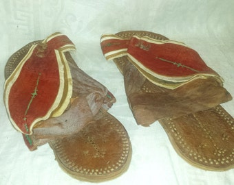 Antique leather Sandals from Thailand Tooled Leather