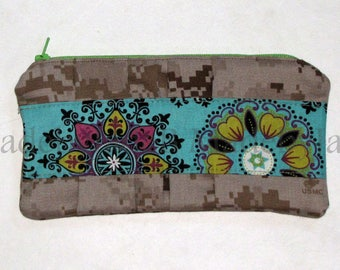 Marine Clutch / Marpat Clutch / Cute Fabric / Paisley / Turquoise and Teal / Ready to Ship
