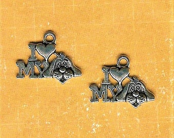 I Love My Dog Charm, 4 Pieces, Antique Silver Dog Charm, Dog Lover Charm, Dog Charm, Happy Dog, Dog Jewelry, Hound Dog Charm, Long Eared Dog