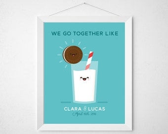 Cookie and Milk Wedding Print  - Funny kawaii anniversary gift couple kitchen wall decor art - personalized modern quote sign cute retro