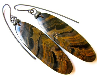 On the Path to Perfection - primitive dark large organic brown banded jasper stones & simple soldered tinned black metal earrings