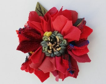 Fabric and leather corsage, brooch, pin on flower, lapel pin, rag rug flower, red shades