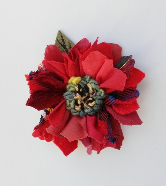 Items Similar To Fabric And Leather Corsage, Brooch, Pin