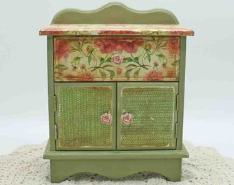 Shabby chic cabinet, decoupaged, distressed, small cabinet with drawer