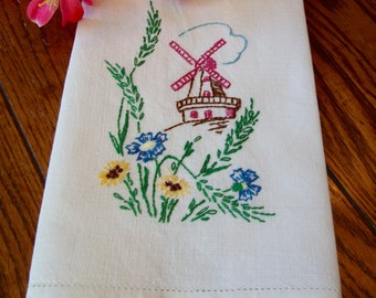 Windmill Tea Towel Vintage Embroidered Kitchen Towel Floral Embroidery