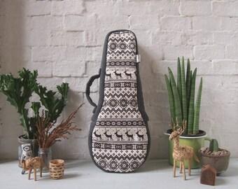 Soprano Ukulele Case - Black and White Ukelele Case with hidden pocket (Ready to ship)