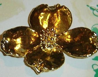 REAL DOGWOOD Leaf (Blossom) Brooch/Pin Dipped in 24K Pure Yellow Gold