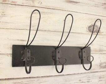 Wall Hooks, Entryway Wall Hooks - Industrial Coat Hook - Rustic Coat Rack - Fixer Upper Style - Triple Hook - Wall Coat Rack - Towel Rack
