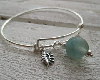 Sea Glass Sterling Silver Bangle Bracelet