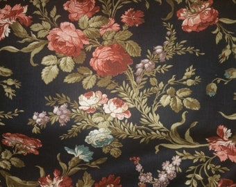 Wharton by Rosemarie Lavin designs for Windham fabrics beautiful roses and flowers on rich black