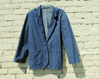 70s Railroad Stripe Denim Blazer Men's Small
