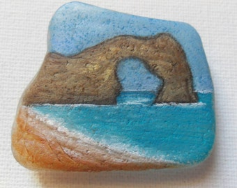 Durdle door, Dorset coast, england - Original miniature painting on English sea glass