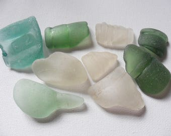 9 mixed chunky green sea foam and white sea glass - Lovely English beach find pieces