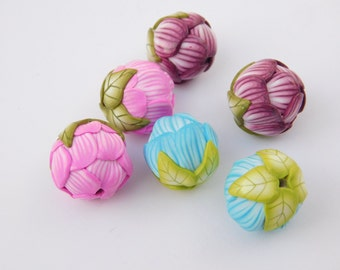 Flower Beads, polymer clay flowers, bead set of two