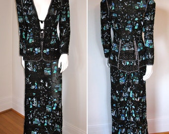 SALE  Incredible Vintage 1960s Eavis & Brown Ornately Beaded Silk Skirt and Jacket Set