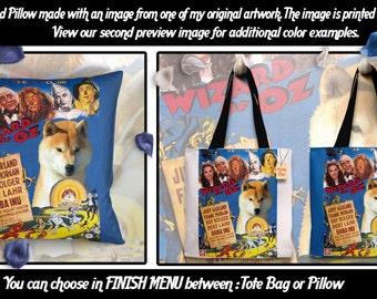Shiba Inu Pillow or Tote Bag/Shiba Inu Art/Dog Tote Bag/Dog Pillow/Dog Art/Custom Dog Portrait/The Wizard of Oz Movie Poster