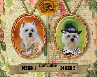 West Highland White Terrier Jewelry/ Westie Pendant or Brooch/ Westie Portrait/Dog Porcelain Jewelry/Custom Dog Jewelry by Nobility Dogs