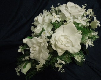 Pearl Stephanotis Red White Valentine Bridal Bouquet. Teardrop Cascade Silk Flowers. Gardenia Lily of the Valley. Free Groom Boutonniere