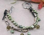ON SALE: Khaki Swarovski Crystal, Green Freshwater Pearl & Sterling Silver Bracelet w/ Artisan Metal Clay PMC Toggle