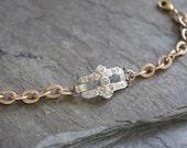 Tiny Treasure-Vintage rhinestone bracelet gold bracelet slim bracelet silver and gold assemblage jewelry F515-by French Feather Design