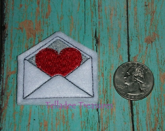 Heart Card in Envelope Mail Feltie - Small Red felt - Great for Hair Bows, Reels, Clips and Crafts - Valentines