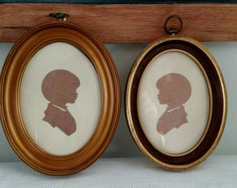 Oval Child Silhouettes - Set of Two