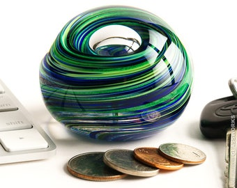 Hand Blown Glass Paperweight - Blue and Sparkly Green Swirls with Bubble - Small