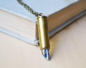 Dark Blue Quartz Crystal Bullet Casing Necklace