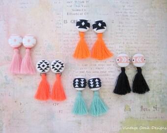Tassel Button Earrings, Boho Tassel Studs, Boho Tassel Jewelry, Button Earrings,Tassel Earrings,Tassel Studs,Button Jewelry,Textile Earrings