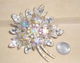 Vintage Juliana Navette Aurora Borealis Rhinestone Flower Brooch 1960's Jewelry 2215