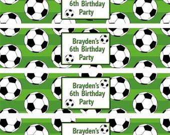 Soccer Water Bottle Labels, Sports Water Bottle Labels,Soccer Party, Soccer Party Favors, Sports Drink Wrap (651)