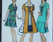 60off Sale Simplicity 8844 1970s 70s Mod Pointed Collar Dress Vintage Sewing Pattern Size 20 Bust 42