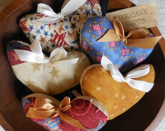 Primitive Patriotic Americana Heart Ornies Bowl Filler Tucks Summer Holiday Decor