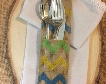 Burlap Silverware holder - Multi color Chevron  - Set of 4 Cutlery Spring Summer Easter